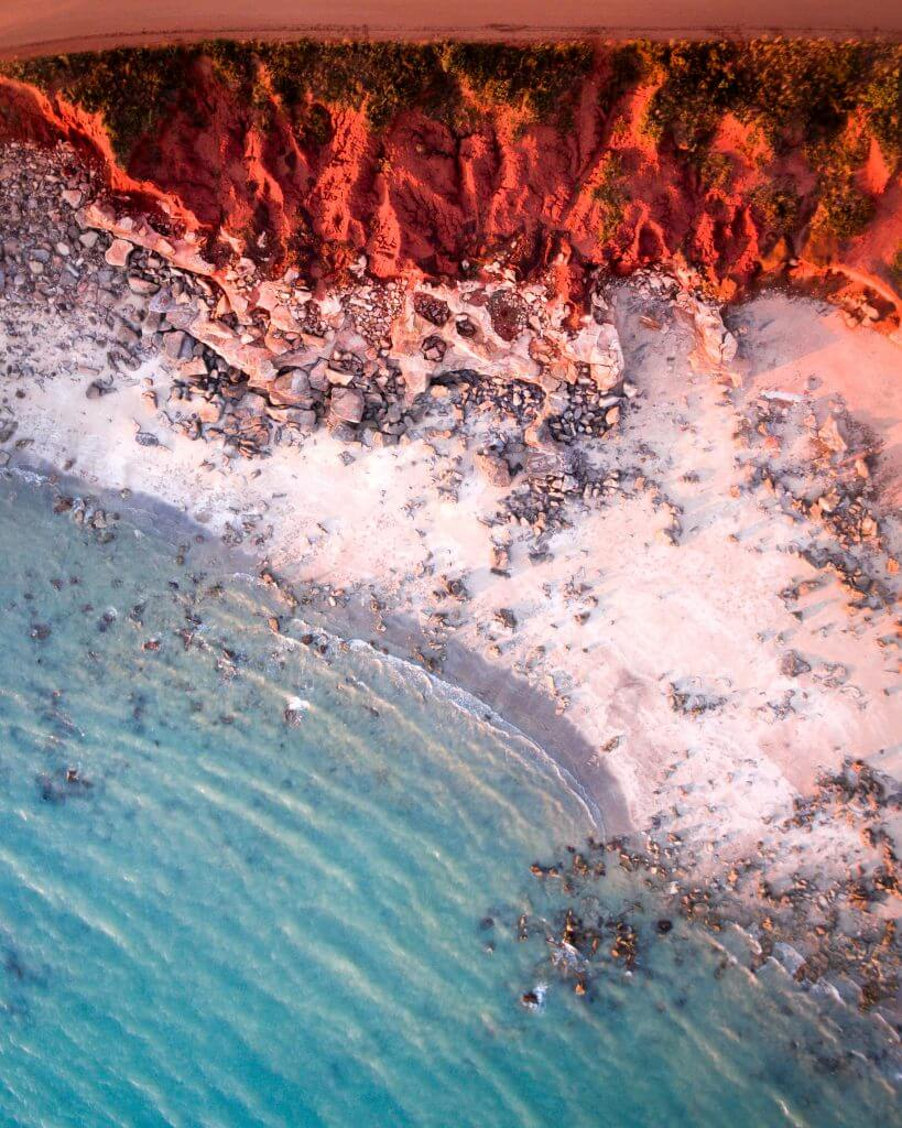 Aerial view of Cable Beach and Gantheaume Point in Broome, Western Australia